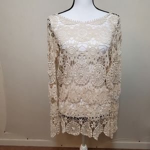 Zara Basic knit blouse longsleeve cream sz#-S